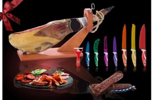 Paleta Ibérica + chorizo 100 g. y salchichón 100 g. + 7 cuchillos de colores